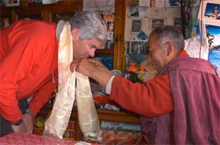 Don receives his Khata blessing scarf from Lama Geshi