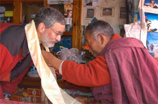 Jeff receives his Khata blessing scarf from Lama Geshi