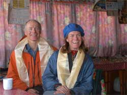 Grant and Maegan at Lama Geshi's house after being blessed