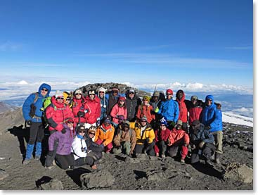 Families on top of Kilimanjaro