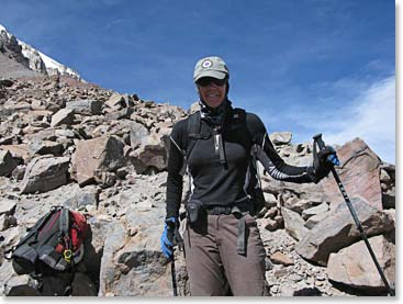 Terri has been a long time climber of Berg Adventures. Here she is in Bolivia gaining some great mountaineering experience.