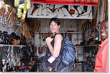 Terri loves immersing herself in the culture of each place she visit's. Here she is in Arusha, Tanzania checking out the local markets before her climb of Kilimanjaro.
