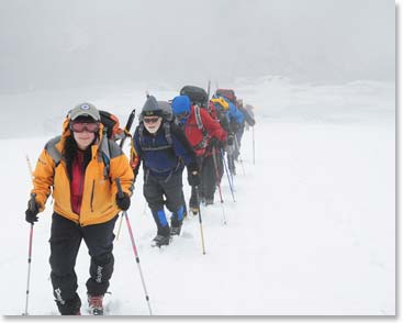 Karina leading a team up Elbrus