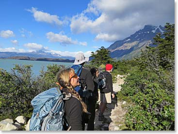 Trekking lakeside in Patagonia