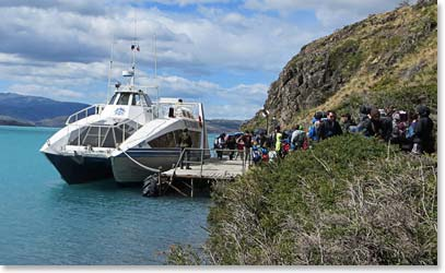 Loading into a boat in Patagonia