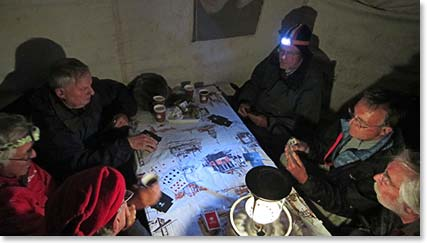 Every night on the mountain the team would get together in the dinning tent to play bridge.
