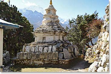 A chorten, or stupa, along the trail to Base Camp.