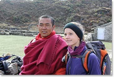 Before we left Khumjung, Mathes visited with a Tibetan refugee monk who is studying at the monestary above Khunde.
