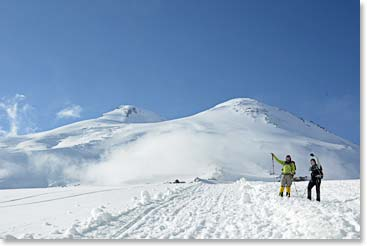 Approaching the summit of Elbrus in the sun