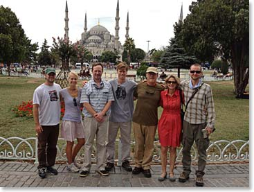 The Sibley family stopping for a photo in front of the iconic Blue Mosque