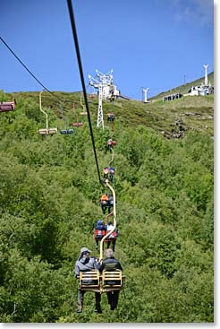 Starting our acclimatization hike with a chairlift ride
