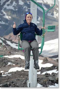 Karen on the chairlift to the Barrels