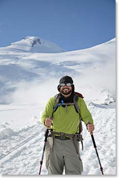 Jason with the summit of Elbrus in the background