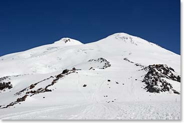 Another beautiful day on the mountain – the twin summits of Elbrus