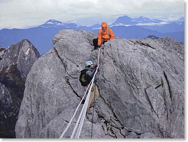 Climbing to the summit of Carstensz Pyramid