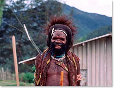 A joyful Dani man of West Papua