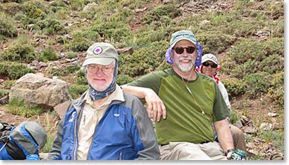 Longtime Berg Adventure climbers and good friends Doc Martin from North Carolina and Dennis Comfort from Seattle travelled to Argentina together to stand side by side on this great mountain.
