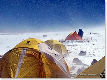 Waking up to polar-like conditions on Aconcagua. Wind and snow make for very challenging climbing conditions.