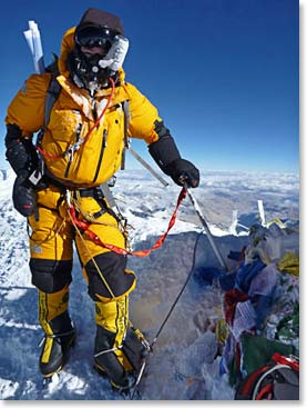 Our team made it to the summit of Mount Everest! Here Steve Whittington stands on top of the world.