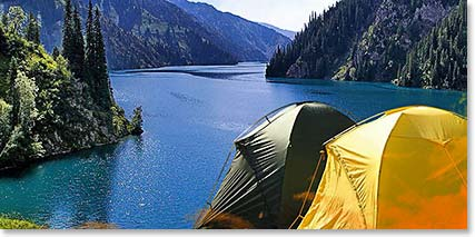 Camping on the banks of the majestic Lake Sary-Chelek