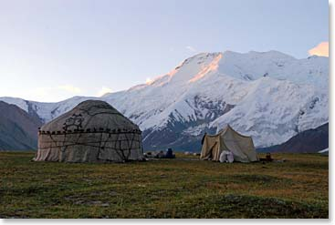 Lenin Peak Base Camp in the morning light