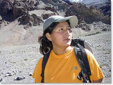 BAI staff Maria Shown on Aconcagua