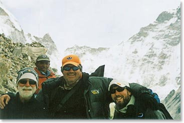 Mark and some team members enjoy the incredible views from Everest Base Camp
