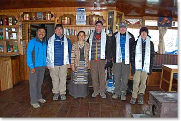The team at Ang Temba and Yangzing's lodge in Pangboche