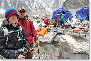 Jackson Brown and Jim Allen in front of the Icefall Doctor's tents at Everest Base Camp