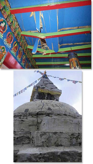 Damage to monastery and stupa