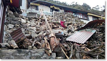Damage in the village of Khunde