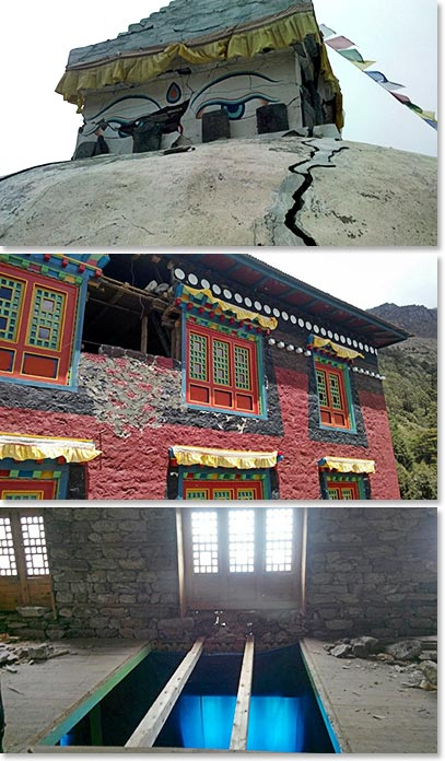 Assessing the damage done to the monastery and stupas