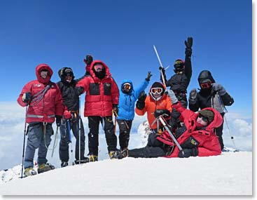 The hardworking team on the Summit of Mount Elbrus