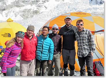 Part of the Quest for Everest team; Deirdre, Wally, Sonam, Tom, Will and Dave pose below the Icefall and the Far Cry 4 Camp