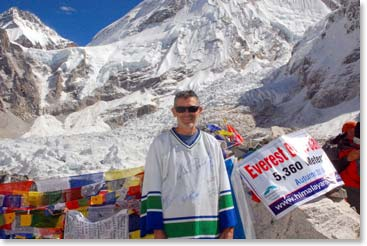 Ken having a great time at Everest Base Camp