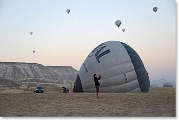 We will never forget our balloon ride over Cappadocia in Turkey.