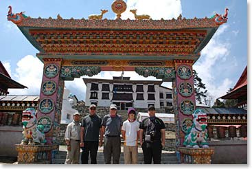 The team in front of the ancient Tangboche Monastery