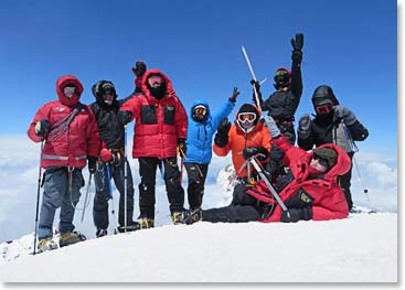 The team on the summit of Mount Elbrus 18,510ft/5,642m