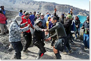 Dancing and singing is what Berg Adventures Kili staff are famous for.