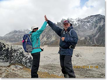 Our comic book heroes high-five to a successful day of trekking in the Khumbu