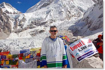 Ken stands proud at Everest Base Camp