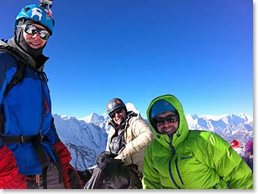 The Island Peak team enjoying the summit
