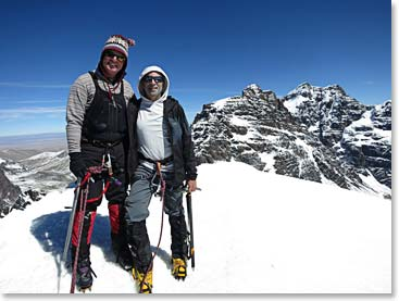 Joe Coughlin and Martin Davis climbing in Bolivia