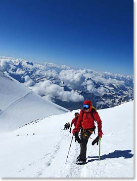 Climbing above the clouds to the summit of Mount Elbrus