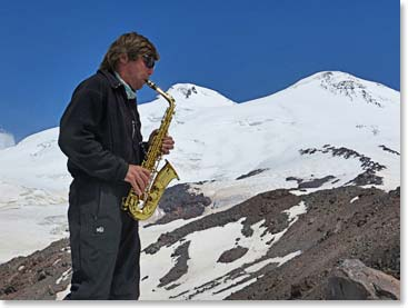 We were entertained by Vladimir while taking a rest day on Mount Elbrus.