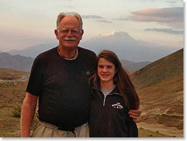 Woodie Vaughan and his granddaughter Mathes with Mount Ararat