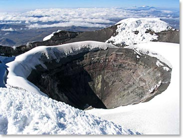 The Cotopaxi Crater is a dramatic reminder of the volcano's explosive past
