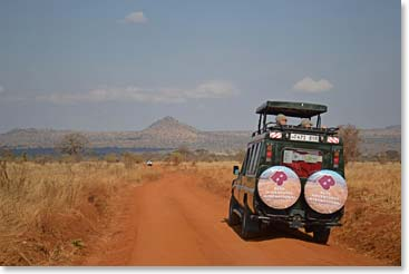 Berg Adventures safari truck leaving Tarangire National Park