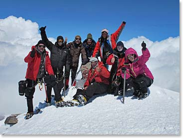 Berg Adventures Elbrus Team 1 celebrates on the summit last week.