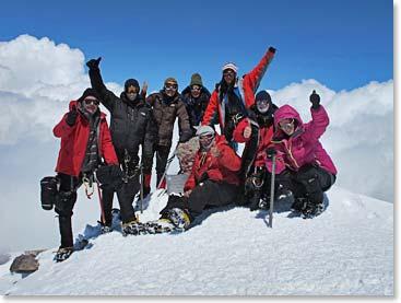 Berg Adventures Elbrus Team 1 celebrates on the summit last week.